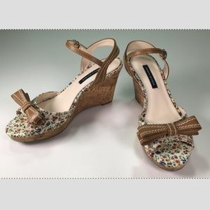 Tommy Hilfiger Floral Leather Ankle Strap Wedge